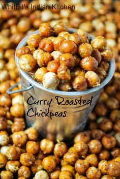 Curry Roasted Chickpeas - A healthy and delicious snack, full of protein.