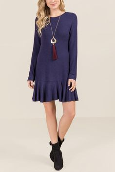 The Delana Flounce Hem Knit Dress features a bar back and a flounce hem detail which is an update to the knit dress. Cos Outfit, Cos Clothes, Knit Dress, Tunic Tops, Navy, Knitting, Model, Dresses, Fashion
