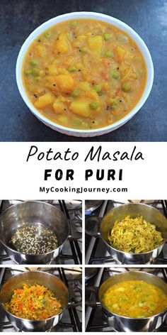 This Potato Masala for Puri is one of the easiest and flavorful side dish to make with Poori / deep fried Indian flatbread. #puri #potatomasala #mycookinjourney @mycookinjourney   mycookingjourney.com Easy Vegan Dinner, Vegan Dinner Recipes, Vegan Dinners, Indian Food Recipes, Vegan Vegetarian, Vegetarian Recipes, Healthy Recipes, Plant Based Protein, Comfort Foods