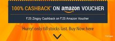 Buy Amazon Voucher Worth Rs.25 From Zingoy & Get Rs.25 Cashback
