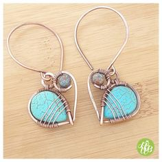 OOAK turquoise hoop earrings/wire wrapped by FromRONIKwithLove …