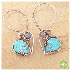 OOAK turquoise hoop earrings/wire wrapped by FromRONIKwithLove