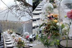 Glass cloche domes for flower arrangements - can do a mix of these plus footed bowls and wildflowers in single stem vases along the table runners to make a really beautiful and interesting table scape? - Lizey