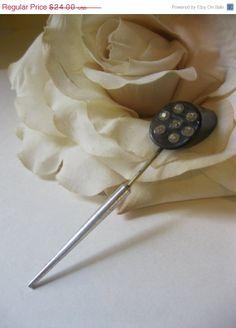 ON SALE Art Deco Rhinestone & Sterling Jabot Pin Stick pin