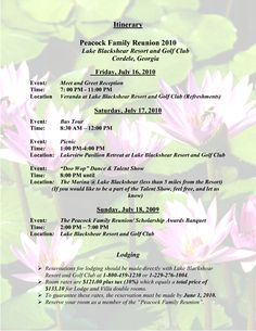 Sample Family Reunion Program Templates | Itinerary Peacock Family Reunion 2010