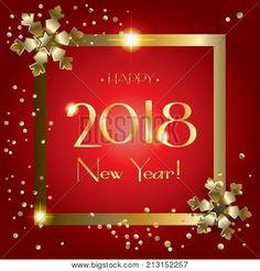 Happy New Year  Luxury Greeting Card Elegant Christmas