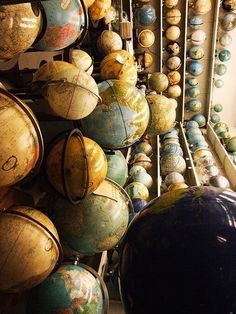collection - many antique world globes