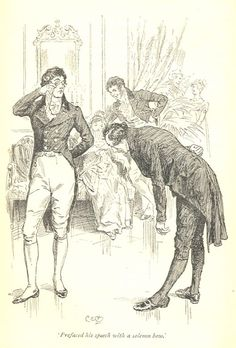 Prefaced his speech with a solemn bow - Pride & Prejudice, 1895
