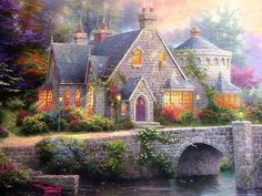 Solve Lamplight Manor - by Thomas Kinkade jigsaw puzzle online with 63 pieces Beautiful Paintings, Beautiful Landscapes, Thomas Kinkade Art, Kinkade Paintings, Thomas Kincaid, Art Thomas, Cottage Art, Watercolor Illustration, Pretty Pictures