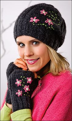 Hint of Pink Slouch Hat & Fingerless Mitts by Cheryl Murray