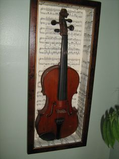 repurposed old sheet music to cover a shadow box to display violin. Sheet Music Crafts, Old Sheet Music, Violin Instrument, Violin Music, Home Music Rooms, Music Corner, Etiquette Vintage, Band Rooms, My New Room