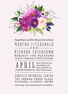 Garden Wedding 2015 // Boho Chic Invitation Invite // Watercolor Floral