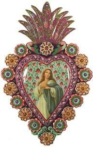 Nuestra Señora de los Angeles - Mexican tin art Of Blessed Virgin Mary Religious Icons, Religious Art, Madonna, Tin Art, Blessed Virgin Mary, Mexican Folk Art, Blessed Mother, Sacred Art, Heart Art
