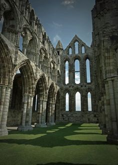 Whitby Abbey church nave, in moody mood
