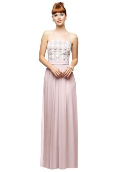 Brides.com: 52 Bridesmaid Dresses Your Girls Will Want to Wear Again. Style LR204, strapless pink crinkle chiffon bridesmaid dress with a daisy lace bodice, $290, Lela Rose available at Weddington Way  See more Lela Rose bridesmaid dresses.