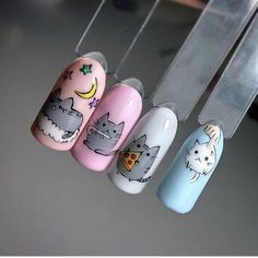 Pusheen, Gorgeous Nails, Pretty Nails, Unicorn Nail Art, Nail Drawing, Animal Nail Art, Nails For Kids, Cat Nails, Cute Nail Art