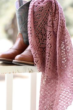 Lace Shawl Pattern | Designs by Romi Desert Peach Shawl Knitting Pattern