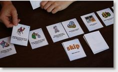 playing the Bible timeline card game-very good ideas for Bible games here, including make your own. Also has illustrations on how to draw each letter of the Greek alphabet.