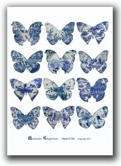 Blue and White Butterflies Decoupage Printable Collage Sheet , via Etsy.