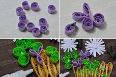 How to make a beautiful quilling paper flower basket for cards step add purple quilling paper flowers mightylinksfo