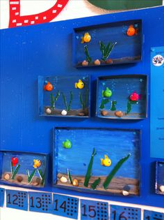 Making a small aquarium. You can use a letter box, shoe box lid, etc. Preschool Crafts, Crafts For Kids, Projects For Kids, Art Projects, Aquarium Craft, Under The Sea Theme, Sea Crafts, Rainbow Fish, Ocean Themes