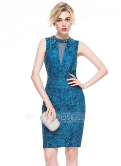 [US$ 129.99] Sheath/Column Scoop Neck Knee-Length Lace Cocktail Dress With Beading Sequins (016081110)