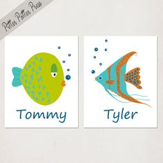 Shop for on Etsy, the place to express your creativity through the buying and selling of handmade and vintage goods. Fish Bathroom, Bathroom Wall Art, Bathroom Kids, Kids Bath, Basement Bathroom, Funny Fish, Fish Print, Fishing Humor, Mid-century Modern