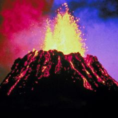 This is a volcano exploding. Volcanoes explode because plates in the mantle, (see Earth's layers) separate and magma, (which is called lave when it comes out) spills out of the volcano.