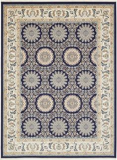 Navy Blue Nain Area Rug