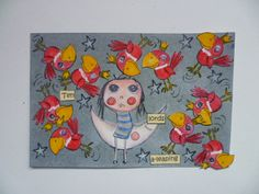 12 Days of Christmas Agathas postcard - Day 10- ten lords a leaping using Agatha Moon by Magda Polakow for Stampotique.