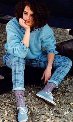 Uli Rose for Seventeen magazine, August 1985. Shirt and pants by Guess?