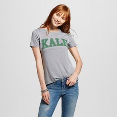 Women's Kale Graphic Tee Grey XL - Modern Lux, Gray