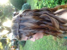 Waterfall braid with big curls