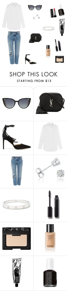 """""""Senza titolo #421"""" by cri-montedoro ❤ liked on Polyvore featuring Fendi, Yves Saint Laurent, Sam Edelman, J.Crew, Levi's, Amanda Rose Collection, Cartier, Chanel, NARS Cosmetics and Essie"""