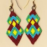 Brown and Turquoise Diamond Drop Earrings | NativeWorksJewelry.com