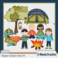 Happy Camper Themed Commercial Use Clip Art