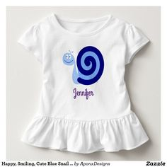 Happy, Smiling, Cute Blue Snail Character + Name Toddler Fashion, Toddler Outfits, Cute Toddlers, Snail, Cute Babies, Happy, Kids, Blue, Character