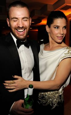 Chris Evans, Sandra Bullock - Interesting... I think I like this idea; She is awesome and his body is out of this world. In other words, she deserves it!