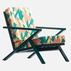 The Ilé Ilà Line Chair Is A Mid Century Modern Armchair, With Vibrant African Print Fabric - A Fusion Of Contemporary African Design, African Tradition And Modern Design. Unique Handmade Home Decor Seating. Cushion Fabric, Chair Fabric, Neutral Living Room Furniture, Retro Color Palette, Contemporary Armchair, African Traditions, Living Room Decor Inspiration, Mid Century Modern Armchair, Patterned Chair