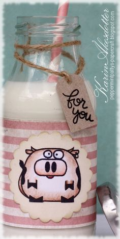 Peppermint Patty's Papercraft: Paper Smooches Milk bottle!