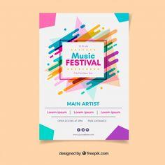 Cartel del festival de música colorido Conference Poster Template, Event Poster Template, Flyer Design Templates, Print Templates, Musikfestival Poster, Poster Musica, Concert Festival, Happy Birthday Posters, Prospectus