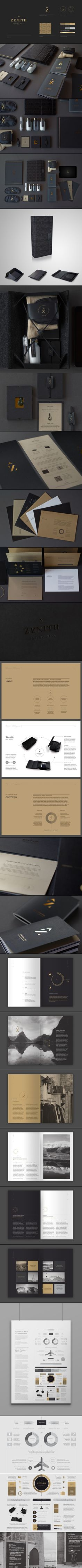 Zenith Premium Travel Kits - New Zealand identity packaging branding curated by Packaging Diva PD Corporate Identity Design, Brand Identity Design, Identity Branding, Visual Identity, Brand Design, Design Typography, Graphic Design Branding, Logo Design, Brochure Design