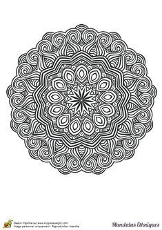 Coloriage mandala ethnique, cercle de la vie et vagues - Hugolescargot.com