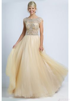 A-line Champagne Beading evening dress cheap