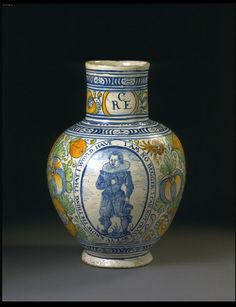 Jug    Place of origin:  Southwark, England (probably, made)    Date:  ca. 1620 (made)    Artist/Maker:  Unknown (production)    Materials and Techniques:  Tin-glazed earthenware, painted  V, C.5-1974