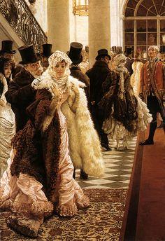 Vintage Furcoat Arriving - Title: The Woman of Fashion, Artist: James Jacques Joseph Tissot , Oil painting reproduction hand painted on canvas Joseph, Art Magique, Beaux Arts Paris, Victorian Art, Victorian Paintings, Art Gallery, Portraits, Fine Art, Art Prints