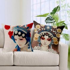 Female Role In Chinese Opera Printed Cushion Covers Home Textile Sofa Set China Style Pillow Cover #Affiliate