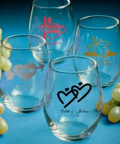 9 best personalized glassware favors images on pinterest stemless