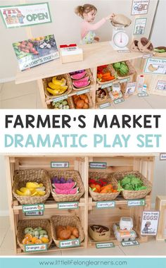 Summer Bulletin Boards For Daycare Discover Farmers Market Dramatic Play Set - Little Lifelong Learners Set up a Farmers Market or Fruit and Veg shop in your dramatic play and imaginative play space Dramatic Play Area, Dramatic Play Centers, Fruit And Veg Shop, Role Play Areas, Play Based Learning, Play Centre, Kids Poster, Poster Ideas, Creative Play