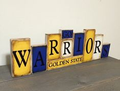 Items similar to Warriors Sign Word Blocks - Golden State Wooden Block Set - Seattle Warriors Shelf Sitter - basketball Father's Day gift on Etsy Golden State Warriors Wallpaper, Basketball Bedroom, Basketball Stuff, Golden State Basketball, Word Block, State Room, Teen Girl Bedrooms, Boy Rooms, Team Gifts